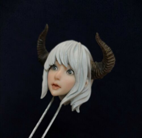 1//6 Beauty Pale Anime Elf Girl Head Sculpt With Horn Fit 12/'/' Figure