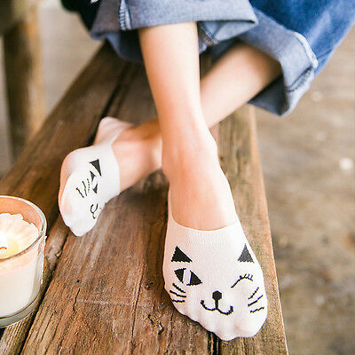 1 Pairs Women Casual Cotton Boat Socks Non-Slip Invisible Show Cut Low Sock N9Z6