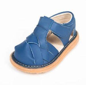SUPER SALE Toddler Leather Blue Crisscross Sandal Squeaker Squeaky Shoes NIB