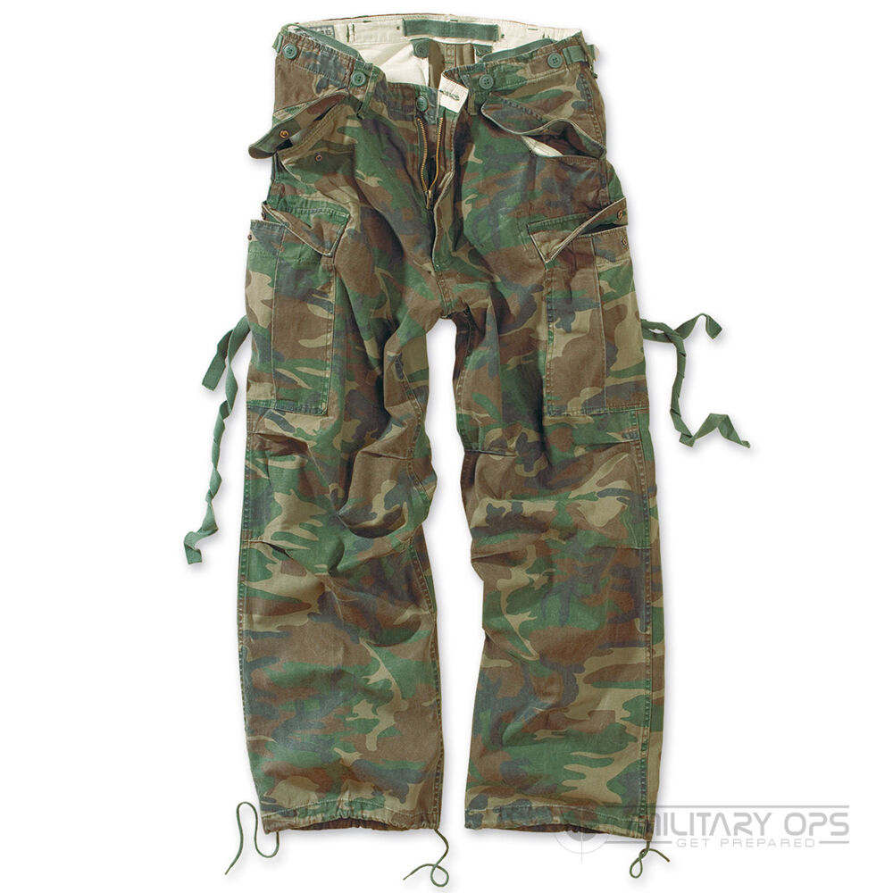 SURPLUS RAW VINTAGE FATIGUES TROUSERS CARGO COMBAT PANTS WOODLAND CAMO