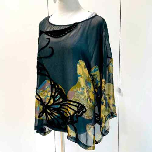 Citron Blouse Silk Butterfly Print Small/ Dolman S