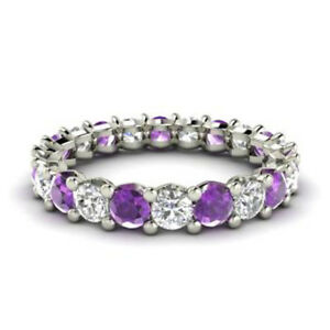 2-03-Ct-Diamond-Amethyst-Eternity-Band-14K-Solid-White-Gold-Womens-Ring-Size-N