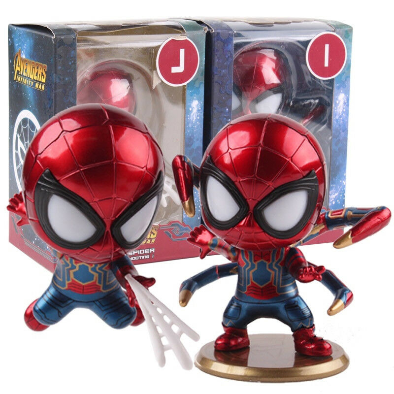 Avengers Infinity War Iron Spider Bobble Head Doll LED Light Figure Model Toy