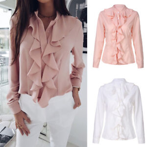Ladies-Casual-Ruffle-Front-Long-Sleeve-Blouse-Shirt-Womens-Office-Tops-Pullover