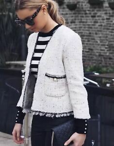 656 Tweed Perles Zara Nwt xs L Écru Veste 2425 M Ss17 En S Pailleté BSBc1z0