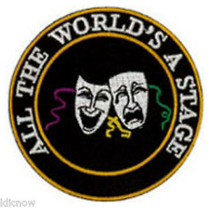 ALL-THE-WORLD-039-S-A-STAGE-COMEDY-amp-TRAGEDY-EMBROIDERED-PATCH-7CM-Dia-2-3-4-034-Dia