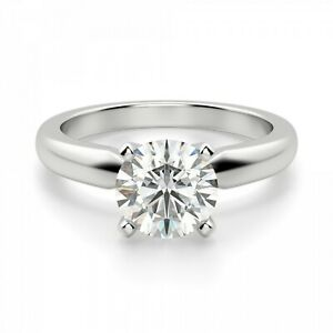 2.00 Ct Solitaire Moissanite Engagement Ring 18K Solid White Gold ring Size 5