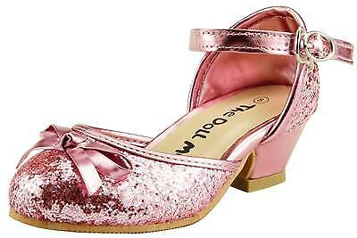 Flower Girl/'s Sparkly Wedding Party Dress Shoes Ankle Wrap Toddler Youth Pump