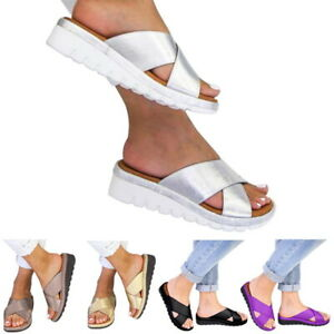 Women-Slip-On-Comfy-Wedges-Sandals-Summer-Casual-Ladies-Sliders-Shoes-Leather