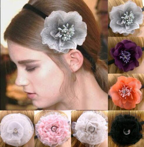 Haarband Stirnband Kopfband Haarschmuck Blume Ruffle Tüll Rose Strass