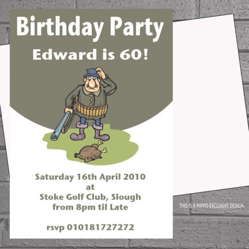 Mens Birthday Party Invitations  Personalised Shooting Hunting x 12 H0165