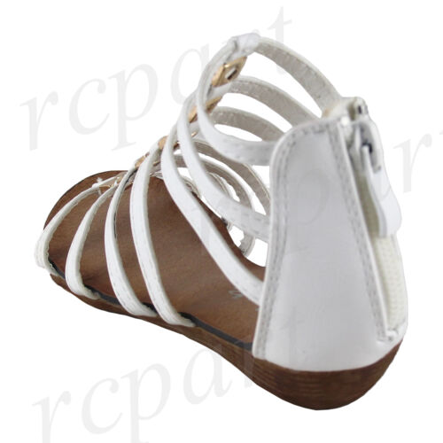 New girl/'s back zipper sandals white gladiator comfort casual open toe summer