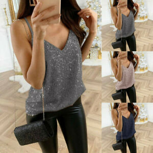 Women-039-s-Ladies-Sequined-Bling-Shiny-Tank-Tops-Sleeveless-T-Shirts-Blouse-Vest