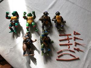 Vintage-Teenage-Mutant-Ninja-Turtles-FIGURES-and-CASE-1988-1989-Wacky-Action