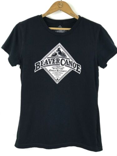 ROOTS BEAVER CANOE- Womens Size S- Black Cotton Om