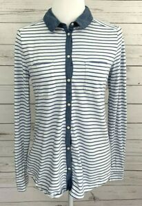 Ann-Taylor-Loft-Top-Womens-Medium-M-Blue-Striped-Button-Long-Sleeve-100-Cotton
