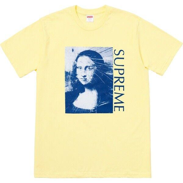 Supreme Mona Lisa Box Logo Tee Pale Gelb Large Art Vase Painting