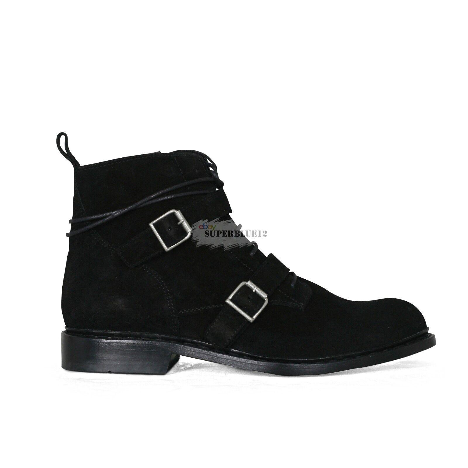 botas con cinturón de gamuza negra con cremallera Balmain