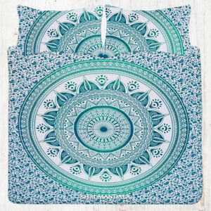 Sea-Green-Hippie-Mandala-Bedding-Queen-Flat-Bed-Sheet-Set-With-2-Pillow-Cases