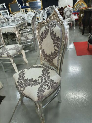 CHAIRS FRANCE BAROQUE STYLE DINING ROYAL CHAIR SILVER / SILVER PRINT #60ST5