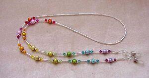 RAINBOW-CRYSTAL-handmade-with-Swarovski-Crystals-Eyeglass-Chain-Holder-SILVER
