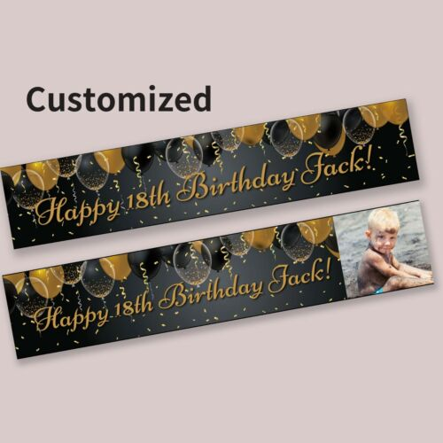 Gold and Black Balloons Personalised Celebration Party Banner Decorations 18th