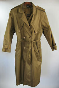 British-Mist-Vintage-Womens-16-Golden-Trench-Rain-Coat-Removable-Quilted-Liner