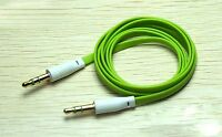 Green Flat 3.5mm Auxillary Aux Audio Headphone Cable Cord Male-Male- 1 Metre
