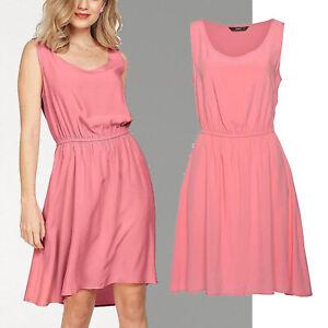 wow-Sommerkleid-Kleid-Gr-36-38-S-M-Viscose-apricot-Basic-Dress-knielang