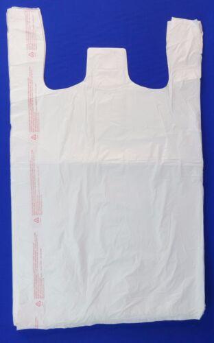 """18/"""" x 8/"""" x 30/"""" White Plastic T-Shirt Retail Shopping Bags w// Handles 100 Qty"""