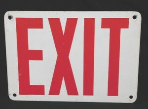 """Vintage ~ METAL PAINTED EXIT SIGN * MEASURES 10"""" x 7"""" *  WHITE with RED LETTERS"""