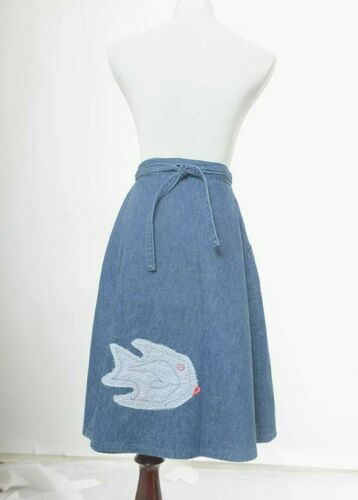 Vintage 70s Womens Maverick Denim Wrap Skirt Fish