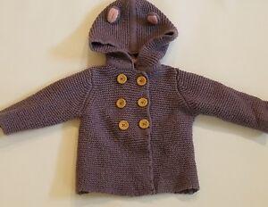d64850a9e Baby Mini Boden Purple Knit Sweater Bear Ears Jacket Wood Button ...