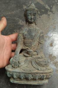 Tibetan-Buddhism-Shakyamuni-Sit-Buddha-Bronze-antique-excellent-old-Statue
