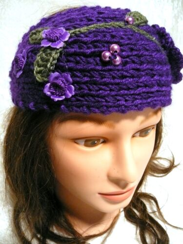 New Hand Knit Crochet Cute Flower /& Leaf Winter Headband Head Wrap Neck Warmer !