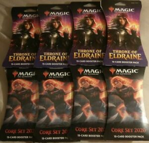 New-Magic-Gathering-CORE-SET-THRONE-ELDRAINE-2020-15-Card-Booster-Pack-LOT-OF-8