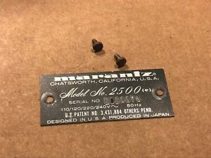 Marantz-2500-e-REAR-ID-BADGE-LOGO-w-screws-Vintage-Monster-Receiver-part