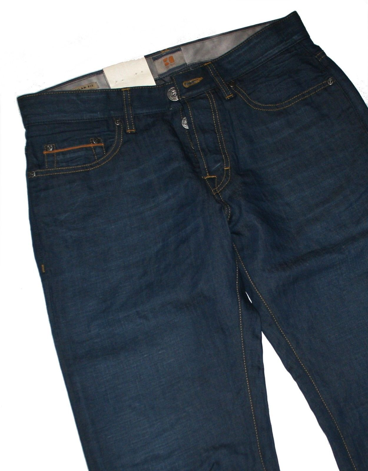 Hugo Boss 50238293 Dark bluee Denim orange 25 Issue Jeans - 43% Canvas W32 L34