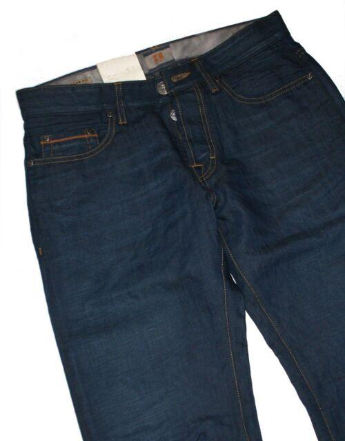 HUGO BOSS 50238293 blu scuro denim arancione 25 Issue jeans con 43% lino W36 L36