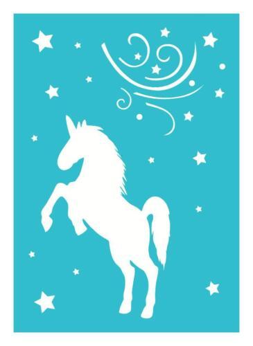 A4 Schablone EINHORN Unicorn Tiere BB-Flex-Stencils selbstklebend