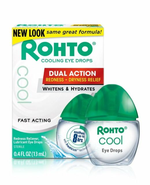 ROHTO Cool DUAL ACTION Redness/DRYNESS Relief Lubricant Eye Drops 0.4oz