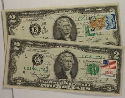 First Day of Issue Cancelled 1976 $2 Note Philadelphia 80 Pennsylvania