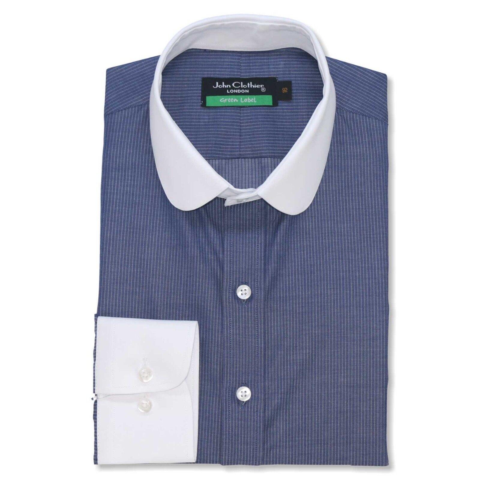 Neu Ingram Weiß Rosa Gestreift 100% Cotton Gespreizter Kragen Anzugshemd 16 41 Kleidung & Accessoires Herrenmode