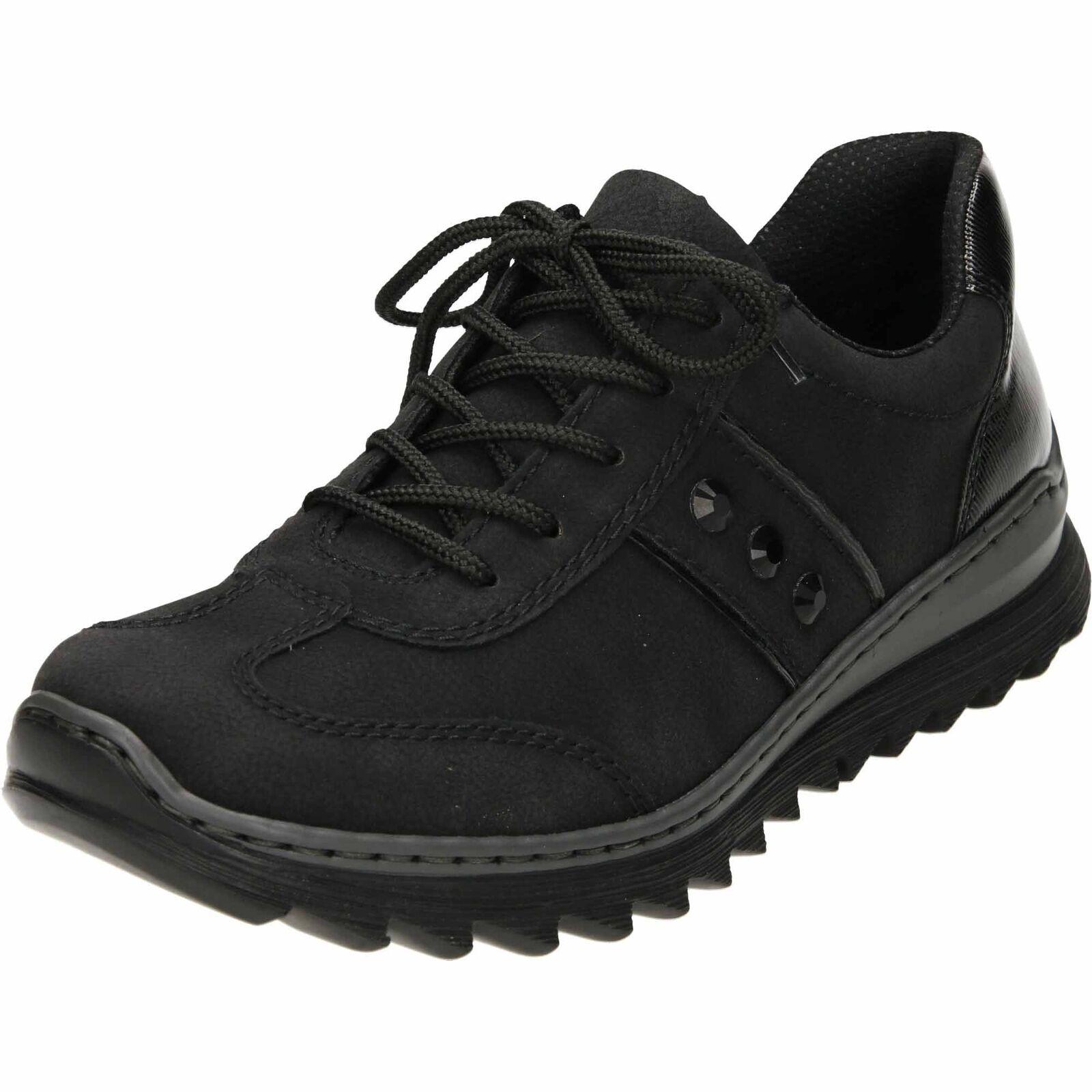 Rieker M6214-00 Negro Con Cordones Zapatillas Zapatos Tenis Informales Bombas Bombas Bombas Grueso Plano  Precio por piso