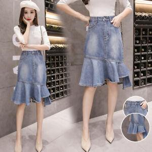 Moda-Donna-Jeans-Midi-a-Balze-Lunghezza-Al-Ginocchio-Asimmetrico-Slim-Nuovo