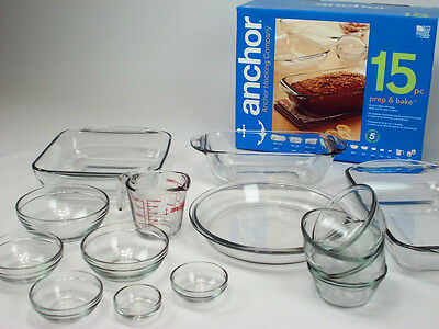 Anchor Viners 15 pcs Glass Baking Dish Set Oven Cook Cake Bread Roast Tray Bowls
