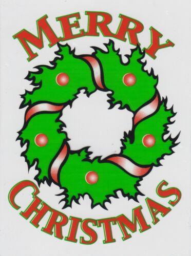 CC3 Noël se cramponnent sur le Vinyle Autocollant Voiture Fenêtre-Holly couronne par ailleurs