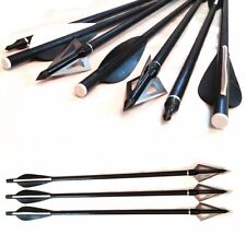 "6 x 13.5"" CROSSBOW fibreglass field tip Bolts Cross Bow Arrows & 3 BROADHEADS uk"