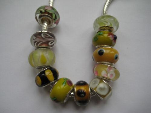 Yellow Glass Beads for European Charm Bracelets