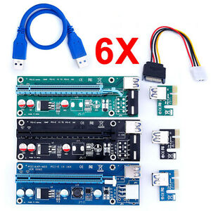 Pcie Express PCI-E 1x To 16x Extender Riser Card Adapter USB3.0 BTC Lot Cable BI